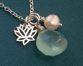 Yoga jewelry, yoga necklace, lotus necklace, aqua blue charm necklace, freshwater pearl charm, lotus charm, sterling silver necklace, flower
