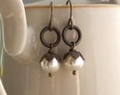 Pearl bud antiqued brass earrings, leaf bead caps, ivory Swarovski Crystal pearls