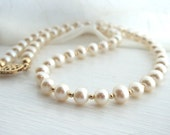 Classic pearl necklace, freshwater pearl strand, gold filled beads, filigree clasp