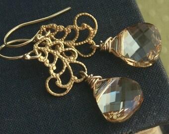 Bridesmaid jewelry, Gold earrings, champagne teardrops, crystal earrings, gold filigree, bridesmaid earrings