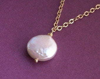 Coin pearl necklace, freshwater coin pearl, gold filled chain