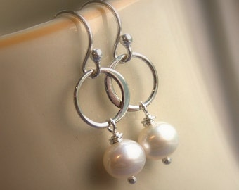 Dainty pearl earrings, white pearls, ivory pearls, freshwater pearls, eternity rings, small silver dangle earrings, bridesmaid earrings