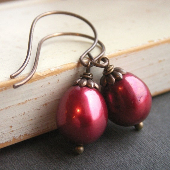 Winter Berry Earrings - Large Cranberry Freshwater Pearls on Antiqued Brass