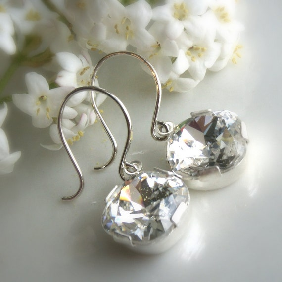 Wedding jewelry, clear rhinestone earrings, bride or bridesmaid earrings, clear crystal, sterling silver, mother of the bride groom gift