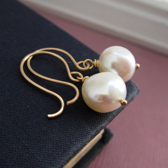Wedding jewelry, Pearl earrings, freshwater pearls, nugget pearls, gold earrings, bridesmaid earrings