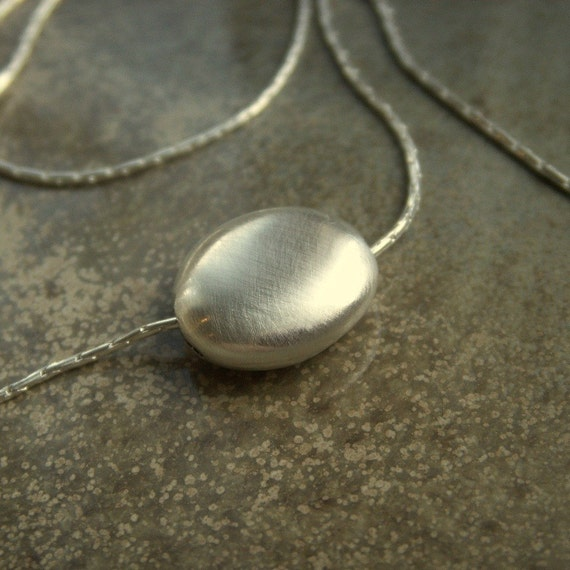 Pebble - Modern Sterling Silver hollow bead Necklace