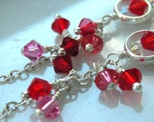 Reserved red Cluster Swarovski Crystal Earring