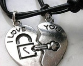 I Love You, Key and Lock Couple Necklace