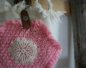 Recycled Canvas and Handmade Doily Purse