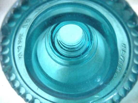Vintage Americana, The Hemingray 42, Telephone Glass Insulator In Vivid Teal Blue