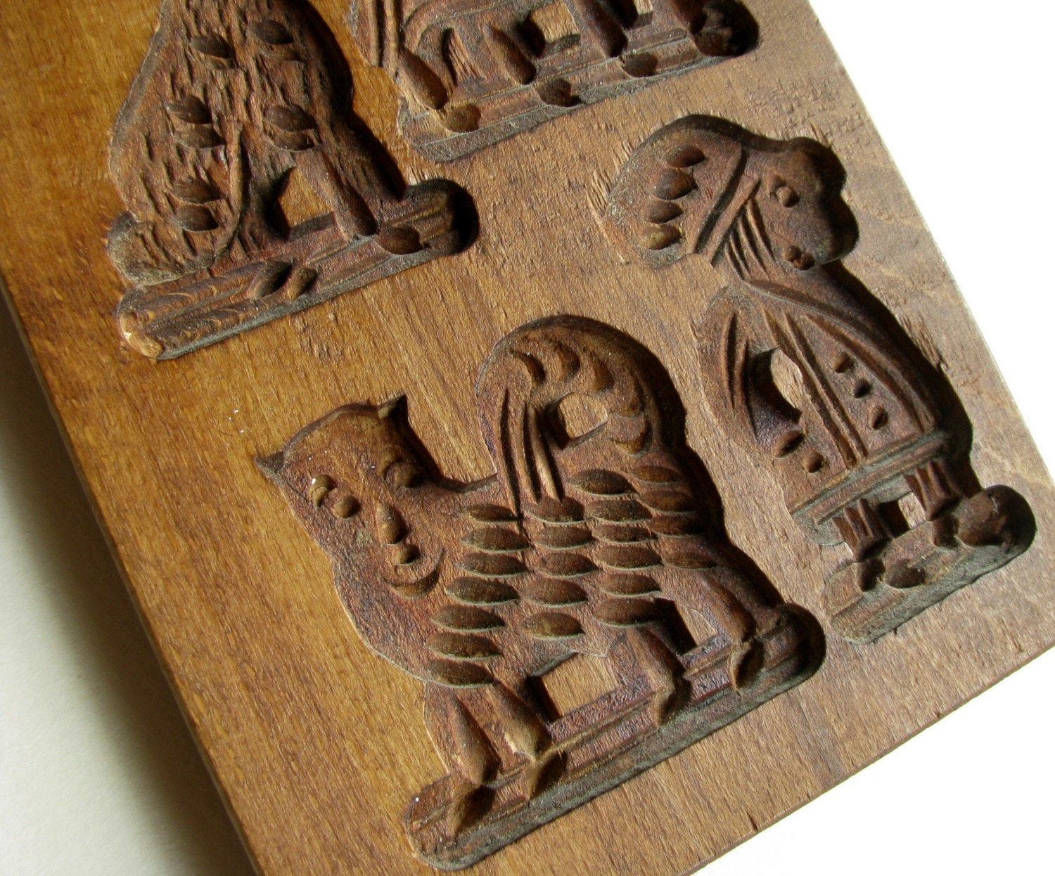 Antique Wooden Hand Carved Springerle Cookie Mold