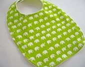 CLEARANCE SALE- Eco Collection Baby/Toddler Bib- Lime Elephants