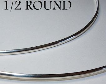 20 ga. 3 ft. ARGENTIUM STERLING SILVER Wire Half Round 1/2 round, Dead Soft Anti Tarnish 20g