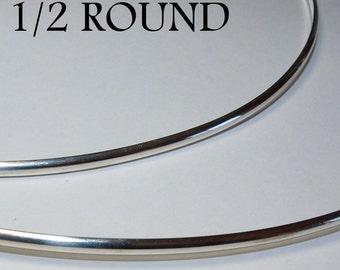 16 ga. 1 ft.  ARGENTIUM STERLING SILVER Wire Half Round 1/2 round, Dead Soft Anti Tarnish