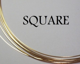20 ga. 1 ft. 14kt GOLD FILLED Wire SQUARE, Half Hard 20g