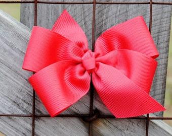 5 Inch Hair Bow Set - Pick SIX Beautiful Big Bows - Large Pinwheel Hairbow Set - 6 Pack Bows Custom Made To Match School Uniform - Huge Bows