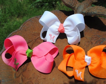 """Initial Hair Bow Set - Choose Your Colors - Baby Girl, Toddler, Little Girl - 3"""" Classic Style - Boutique Bow Clip - Everyday Girls Hair Bow"""