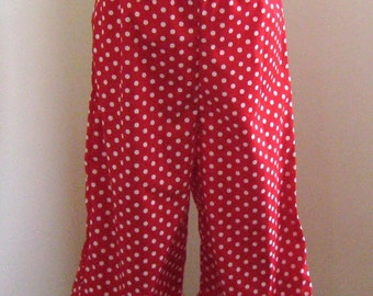 Girl Red Polka Dots Ruffle Pant, Single Ruffles Red polka Dots pant, Red Girl Pant, Chirstmas Ruffle Pant, Fall Girl Pant, Spring Girl Pant