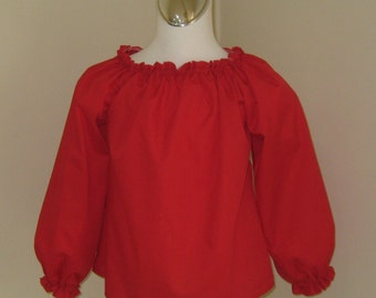 Red Long Sleeve Peasant Top 12M To 7, Girl Long Sleeve Top, Red Peasant top, Girl Red Blouse, Infant Top, Baby Top