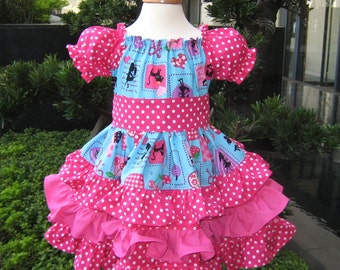 Triple Ruffle Blue and Hot Pink Pretty Girl Peasant Dress, Girl Ruffle Dress, Ruffle Dress, Polka Dots Dress. Girls Dresses