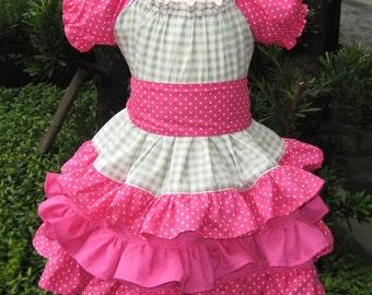 Triple Ruffles Green And Hot Pink Peasant Dress, Girl Ruffle Dress, Girl Green Dress, Polka Dots Hot Pink Dress, Birthday Girl Dress