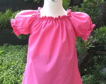 Hot Pink Peasant Top 12M To 7, Girl Top, Girl Blouse, Toddler Top, Toddlers Tops, Pink Top, Hot Pink Top, Peasant Top