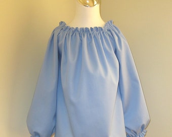 Light Blue Long Slevee Peasant Top 12M To 7, Girl Blue Long Sleeve Top, Blue Infant Top