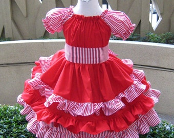 Boutique Dress, Little Girl Gift, Girls Boutique Outfit, Little Girl Dress, Girl Ruffle Dress, Christmas Dress, Red and White Dress