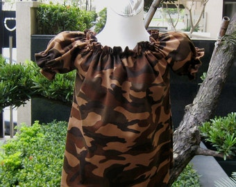 Camouflage Brown Peasant Top Custom Boutique 12M   To 7, Girl Blouse, Girl Top, Camo Top