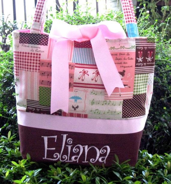 Kawaii Pink Ballerina Tote Diaper Bag Free Monogram
