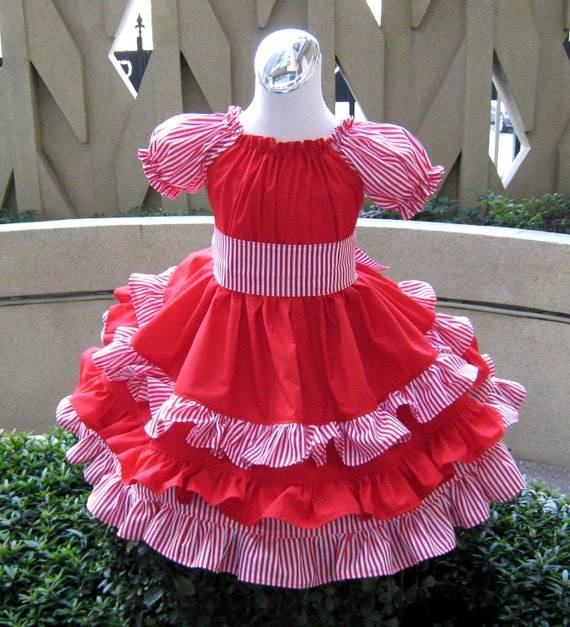 Custom Boutique Triple Ruffles  White And Red Stripes  Peasant Dress