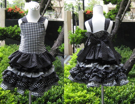 Custom Boutique Black And White Knot Tie Top And Ruffle Skirt Set.