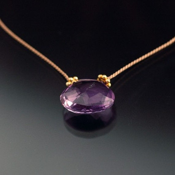 Ametrine Briolette and Silk Necklace