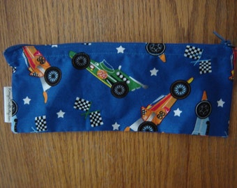 Zippered Pencil Pouch-Race Cars-9 inch (Pencil 55)