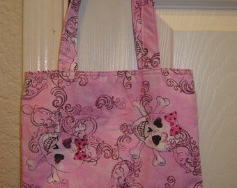 Small Tote-Glam Skulls on Pink (Bag 324)