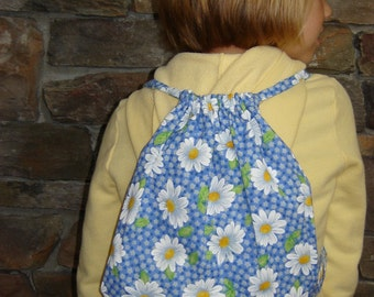 Drawstring Backpack with Tissue Cozy-Blue Daisy (DSBP 9)