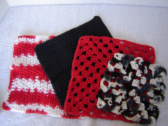 Crochet Dishcloth Quad-Black, White and Red All Over (Quad 1)