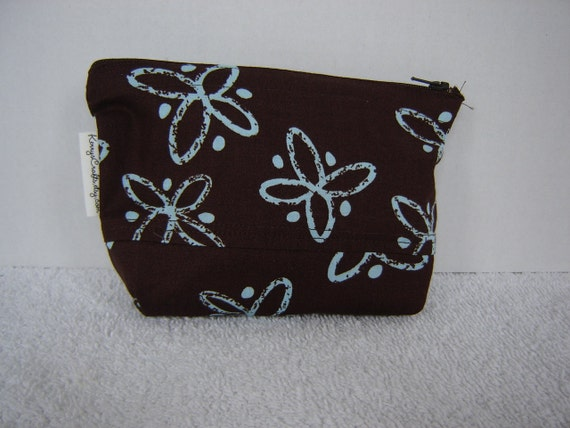 Zipper Pouch with Tissue Cozy-Brown w/Turquoise Tropical Flowers (Zip 104-G)