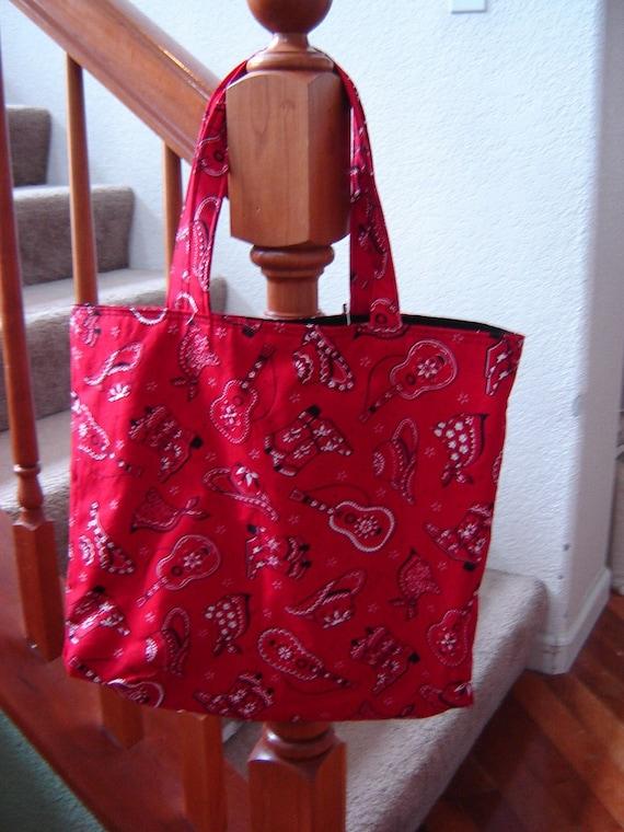 Large Tote-Red Bandana Print (Bag 11) ON SALE