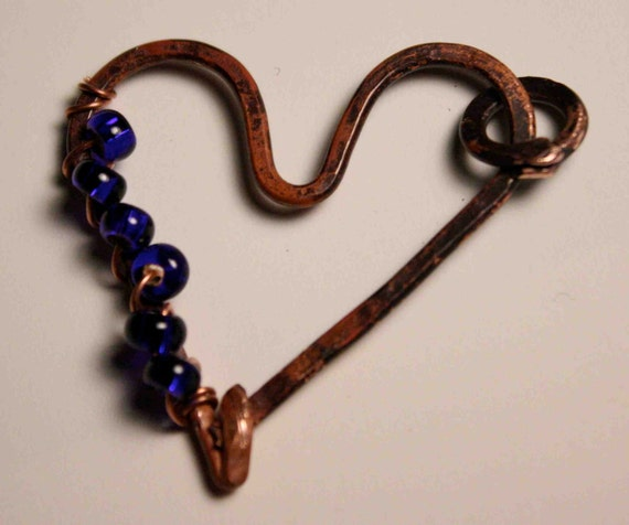 Hand Forged Copper Heart Pendant With Cobalt Blue Czech Glass Beads