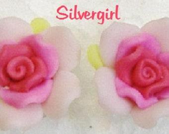 Pink OR Black Polymer Clay Ruffle Rose Stud Earrings