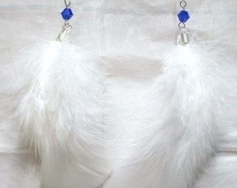 1 PR White Fluffy Feather Sapphire Crystal Earrings Silver Plate