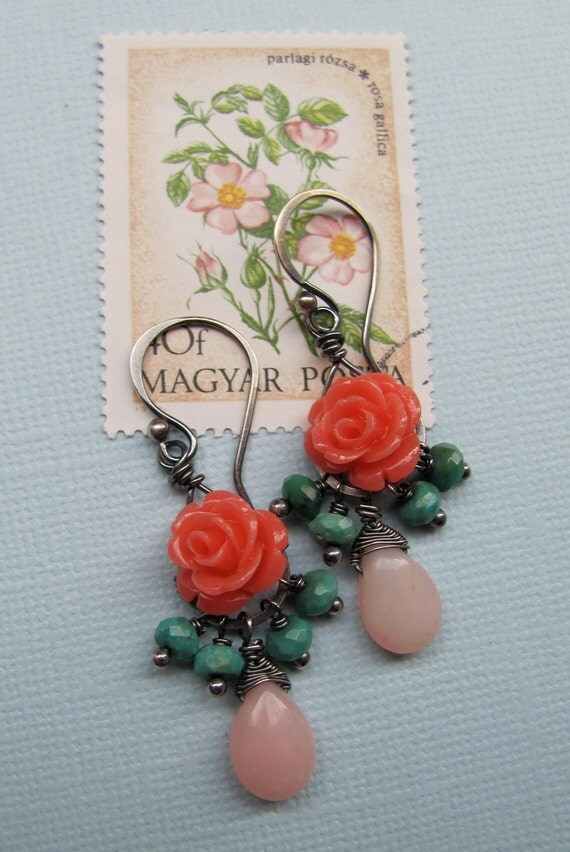Primavera Earrings -- turquoise and coral pink roses