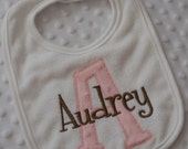 Baby Girl Bib with Appliqued INiTiaL in MiNKy and embroidered name in PiNK and BRoWN