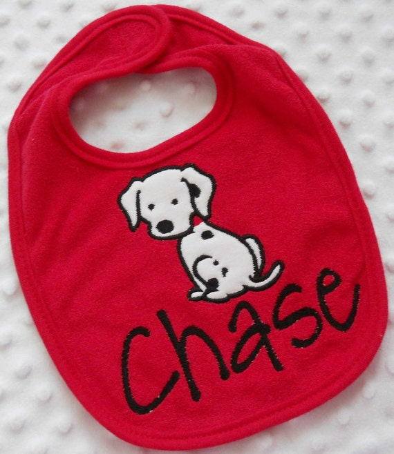 ONE Personalized Bib featuring an appliqued DaLMaTioN DoG