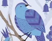 blue bower print 5x7