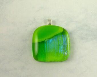 Lime Yellow Dichroic Glass Pendant