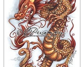 Fire 11x17 Traditional Asian Dragon Art Open Edition Print
