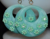 Reserved for eukestad  Vintage recreated Mint Daisy Hoop Earrings ONE SALE