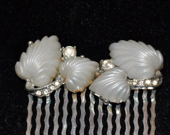 Vintage Recreated Creamy White Leaves and Rhinestones Hair Comb